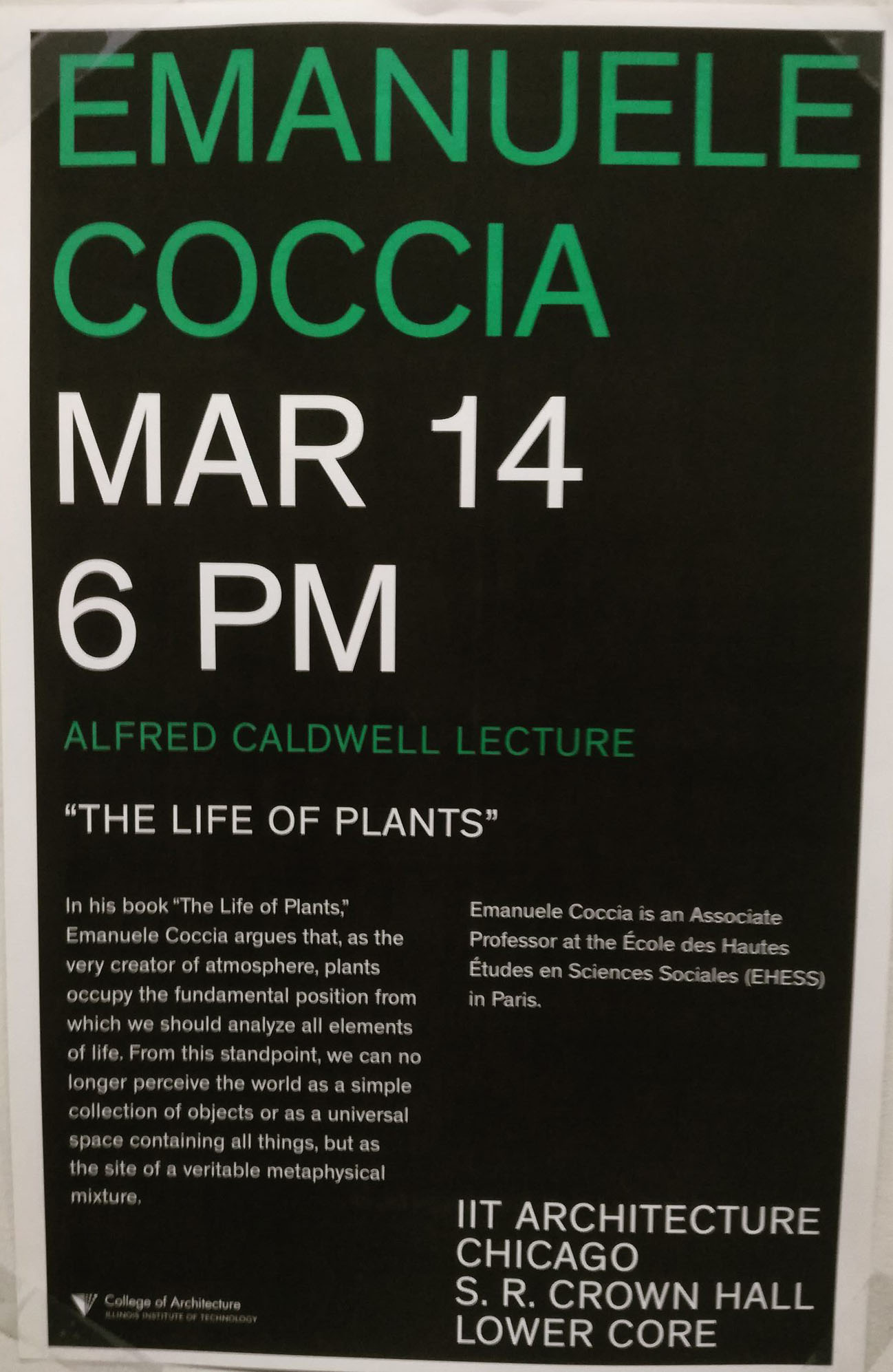 Conférence d'Emanuele Coccia à Chicago : The Life of Plants